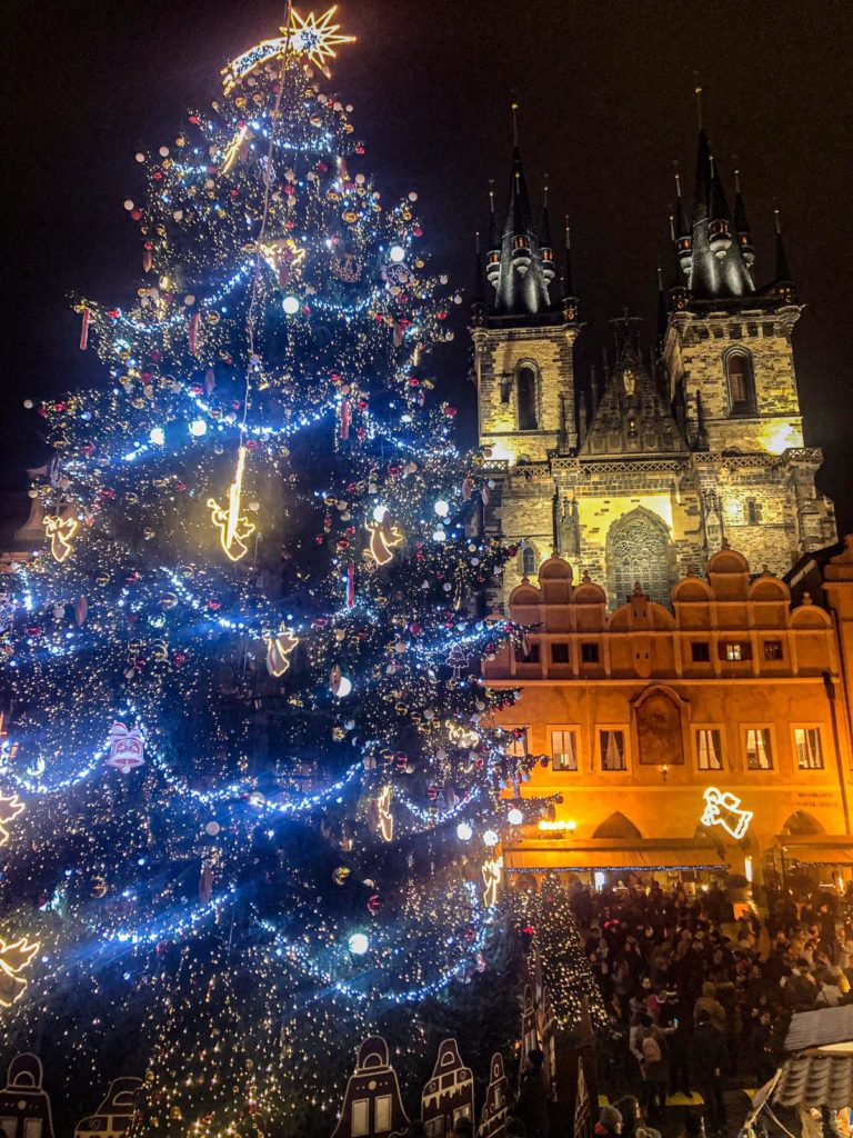 Old Town Square Prague Christmas Markets With Lit Up Christmas Tree