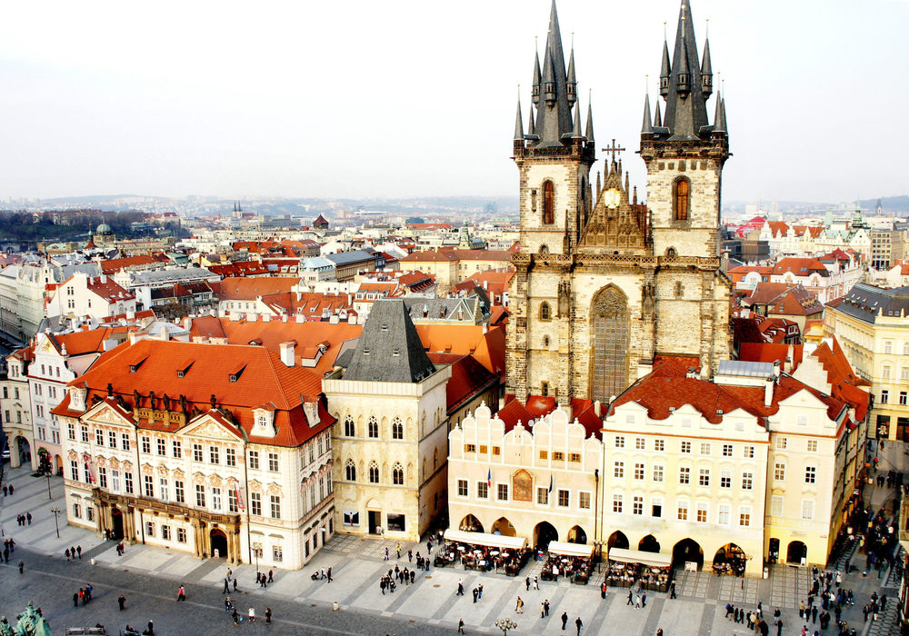 Beautiful bird eye Prague view and Tyn church